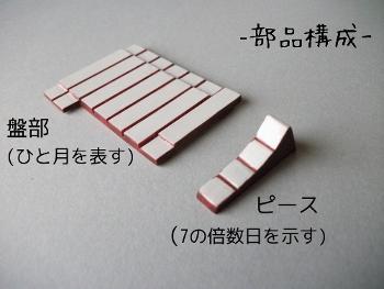 カレンダーの部品構成。盤一枚とピースひとつ。